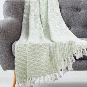 New  Herringbone with Fringe Throw Blanket